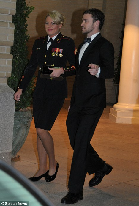 A night to remember: Justin Timberlake accompanied U.S. Marine Cpl. Kelsey de Santis to the annual Marine Corps Ball in Richmond, Virginia on Saturday