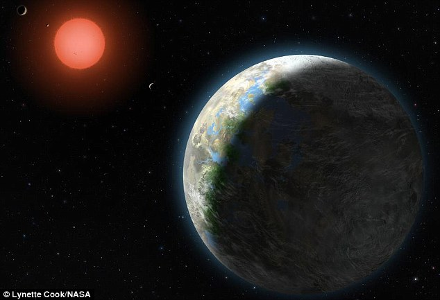 Let there be water! This artist's impression of Gliese 581g aruond its host star, a red dwarf, around 20 light years away. Gliese 581g has a 37-day orbit and is around three to four times the mass of Earth
