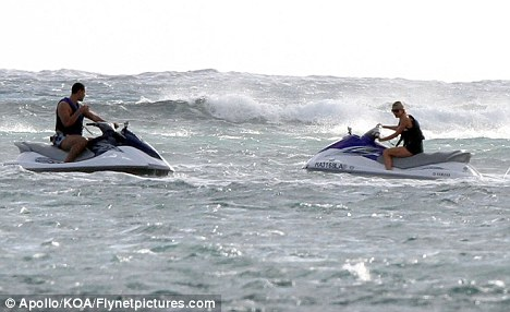 High speed fun: The pair then indulged in a spot of jet-skiing