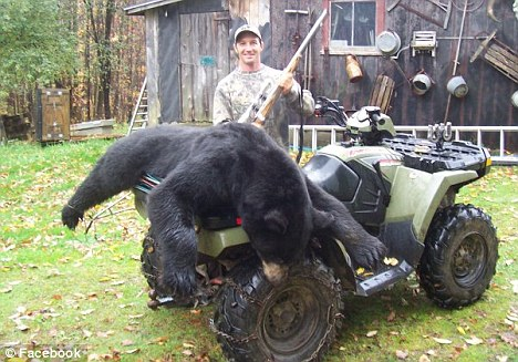 Hunted: Birch proudly shows off another feat, a back bear, on Facebook