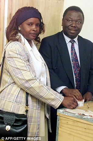 Mr Tsvangirai with his first wife Susan: She was killed in a car crash in 2006