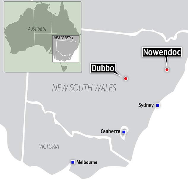 Search area: Naden is wanted for a murder in Dubbo, New South Wales, and he was spotted in Nowendoc, both in eastern Australia