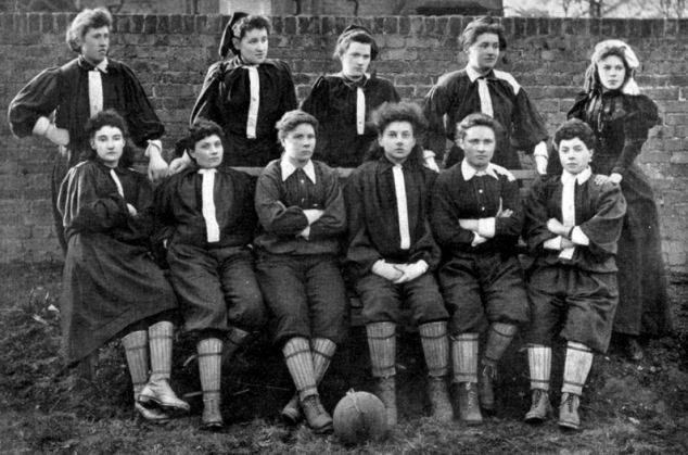 Feminist goals: Mrs Graham's XI, from Stirling in Scotland, are thought to be the first women's football team in Britain, and sparked riots after they beat England 3-1 in their second match ever in May 1881