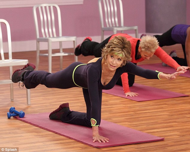 Can you do this? Jane Fonda seen in a still from one of her new fitness DVDs, which are aimed at baby boomers