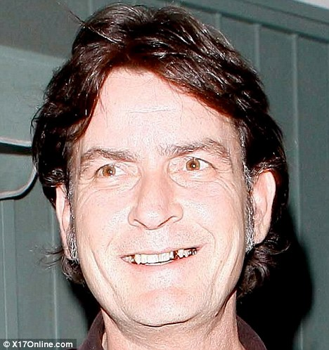 charlie sheen is half the man he used to be with grey sideburns and gold teeth daily mail online