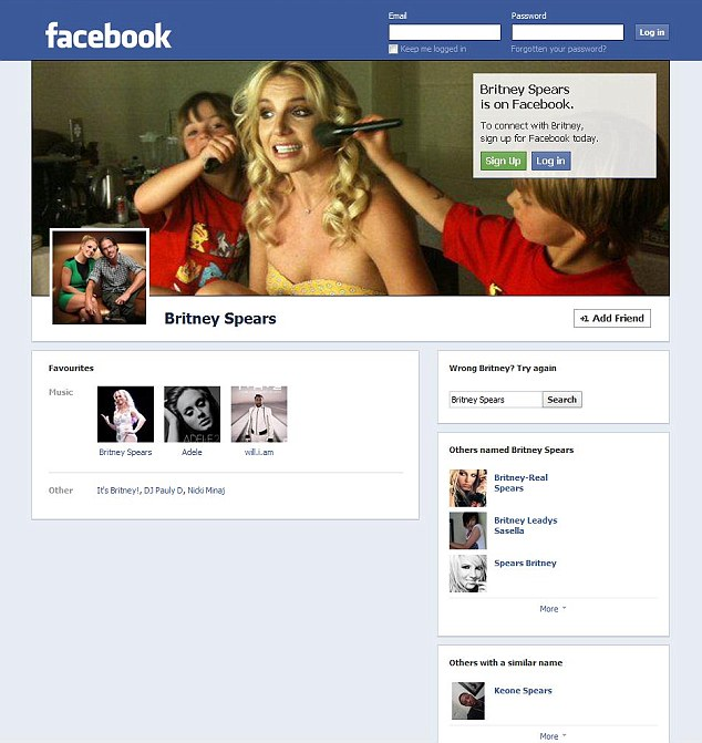 Celebrity endorsement: The Facebook profile of Britney Spears already appears to have received the 'timeline' makeover