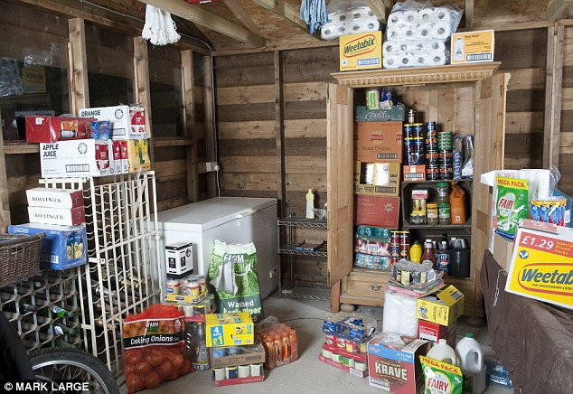 Reserves: The Shaws have enough food and water to last them a year, stored in their garage
