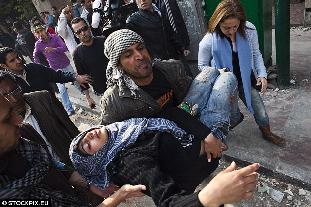 Brutally injured: More than 50 men and women were injured on Saturday in violent clashes between rock-throwing protesters and military police
