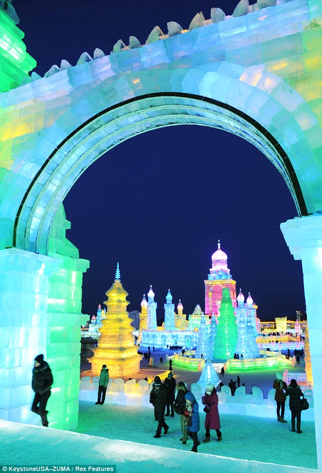 Grand entrance: This giant ice archway is an impressive entrance to the city