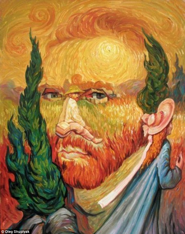 Double Dutch: This painting shows two portraits of post-impressionist Vincent Van Gogh, one of which is used to create the nose of the main image