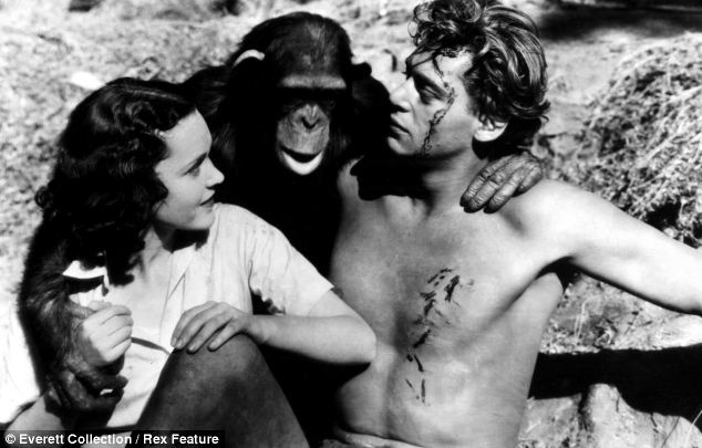 Co-stars: Maureen O'Sullivan, Cheetah and Johnny Weissmuller in the 1932 film Tarzan The Ape Man