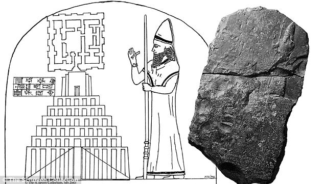 Tower of Babel tablet: A reconstruction of the tablet, right, showing what the images would have originally looked like before they faded