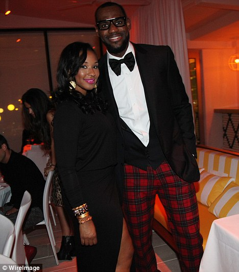 Romantic: LeBron with Savannah in Miami, Florida, on New Year's Eve when he proposed to her
