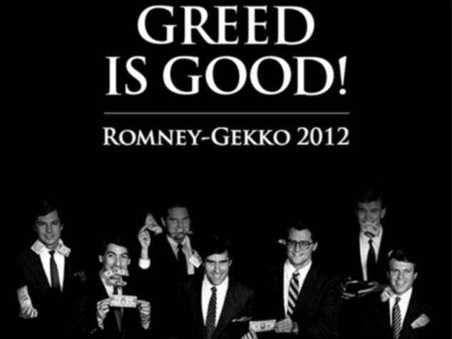 Americans United for Change, a liberal group, last month used this 1980s photograph of Mitt Romney (centre) and his Bain Capital colleagues to compare him to Wall Street movie villain Gordon Gekko