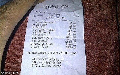 Price tag: A Dubai bar tab published on Twitter this week shows one night out at the Cavalli Club costing $108,357.80
