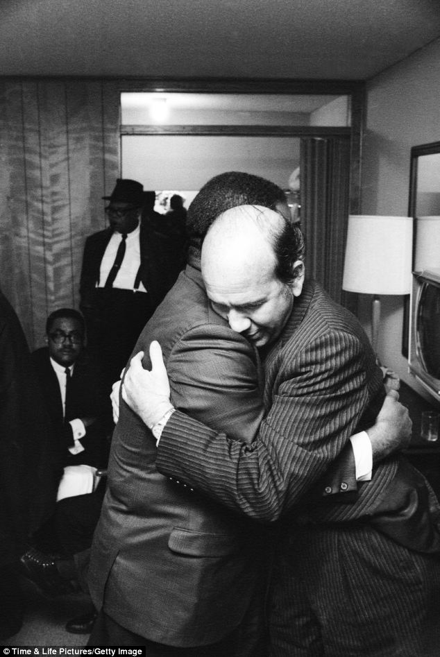 Support: Ralph Abernathy and Will D. Campbell, a long-time friend and civil rights activist, embrace in King's room