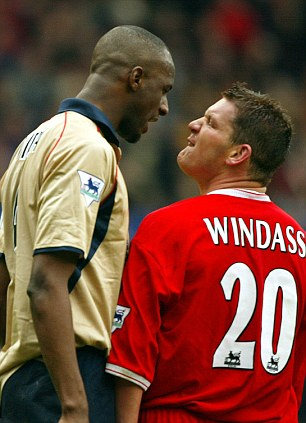 Passion: Windass clashes with Arsenal's Patrick Viera during his days at Middlesbrough