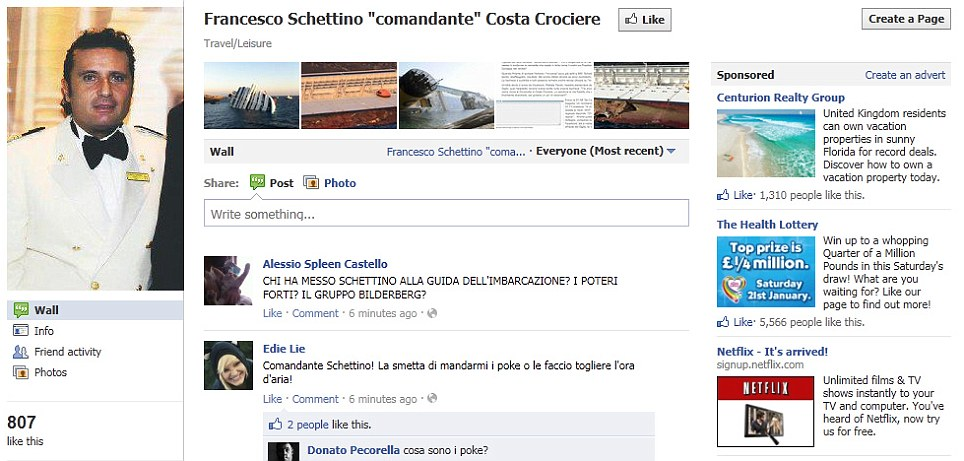 Anger: Hundreds of people are signing up to a Facebook group to berate the captain of the ship Francesco Schettino