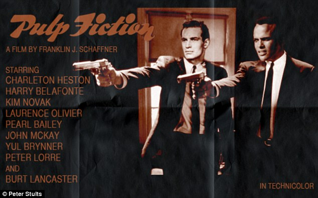 Classic: The artist's Pulp Fiction makeover casts Charlton Heston and Laurence Olivier