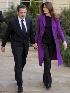 Carla Bruni-Sarkozy Cute Outfit- Purple Coat with All Black Ensemble