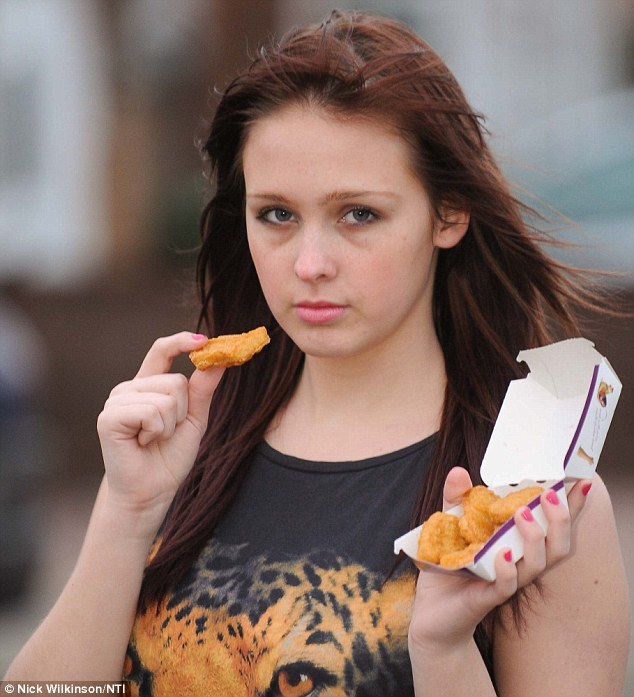 Killing herself: Stacey Irvine, 17, eats little else apart from chicken nuggets