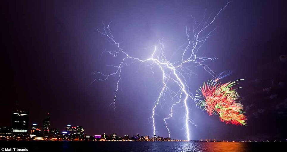 What a view: Crowds at the Esplanade in Perth, Australia were treated to an amazing display during Australia Day celebrations
