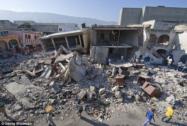 Rubble: Earthquake damage in downtown Port Au Prince, Haiti, in January 2010