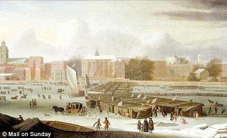 A pintura, datada de 1684, por Abraham Hondius retrata uma das muitas feiras de geada no Rio Tamisa durante a mini era do gelo