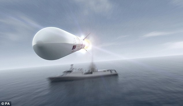 Defence: A computer generated image of the Royal Navy's new Sea Ceptor missiles which can reach speeds of up to Mach 3 and can protect an area of around 500 sq miles over land or sea