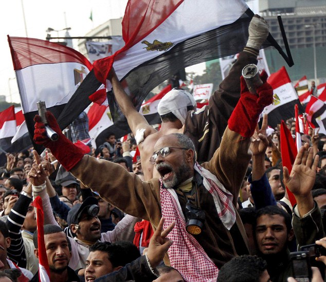 Uprising: Twitter was credited with the change of regime in Egypt, where the site was used to co-ordinate protests