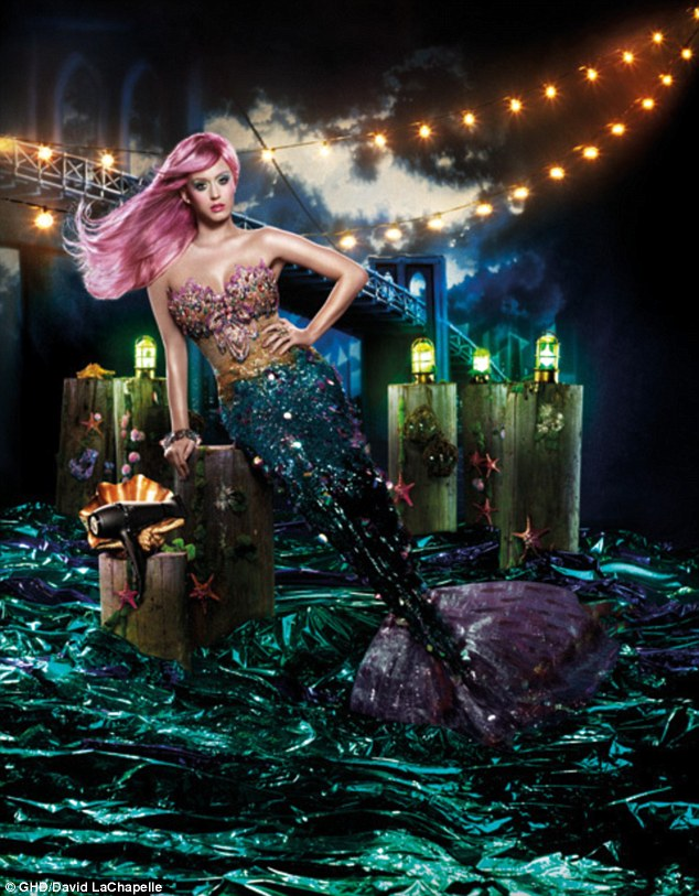 Pretty picture: Katy Perry poses as a mermaid in this new shot from her campaign for GHD Air hair dryers