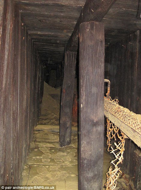 inside the buried shelter parts of the tunnel remain intact