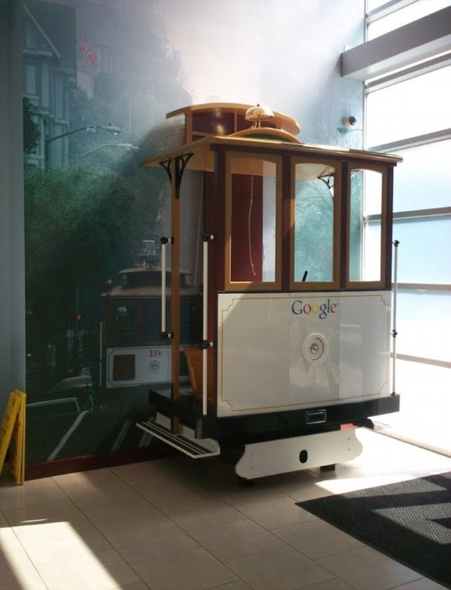 A replica tram inside the Mountain View, California headquarters
