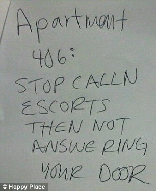 Busted: Another note posted on a pin-board acts as the ultimate humiliation