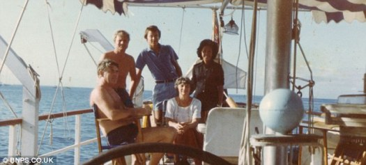 The couple's Transat team enjoying the sunshine up on the deck of the Fare Well in 1981
