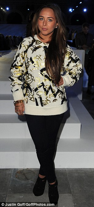 Funky: Chloe Green was understated in a knit jumper, and Jameela Jamil wore denim dungarees