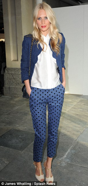 Polka dots and prints: Poppy Delevigne looked chic in blue polka dot trousers, while Olivia Palermo stood out in her colourful ensemble