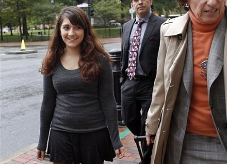 Teenage atheist: Cranston High School West student Jessica Ahlquist, 16, left, arrives at U.S. District Court on October 13, 2011