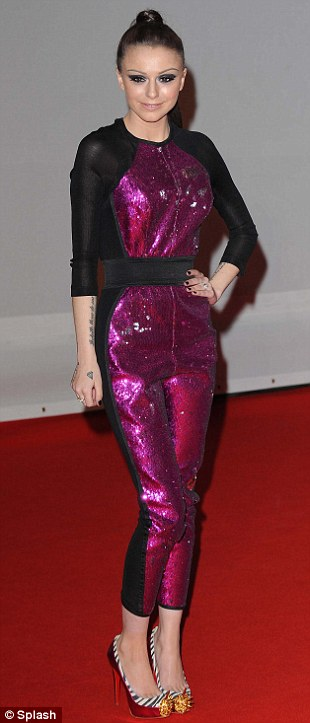 Cher Lloyd shunned a dress in favour of this shiny purple jumpsuit