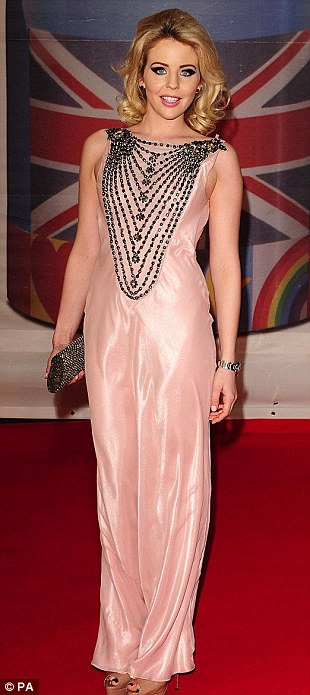 Pretty in pastel pink: The Only Way Is Essex star Lydia Bright in a flowy number, Fearne Cotton opted for a white top and black skirt and Lisa Snowdon wore a white bandage dress