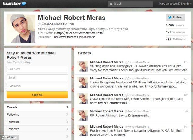 """""""Broma"""": El usuario de Twitter de Michael Robert Mera aseguró que los rumores comenzaron mundiales de Internet con un tweet broma"""