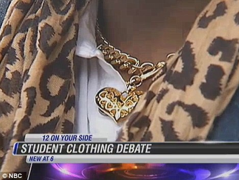 Necklace: Asante said female students wear heels and the slippers he was forced to wear themselves violate the dress code because of their open heel