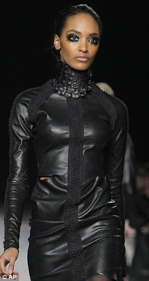 Jourdan Dunn walked in the show, which saw skins from crocodile and other exotic creatures used to create dresses and other garments