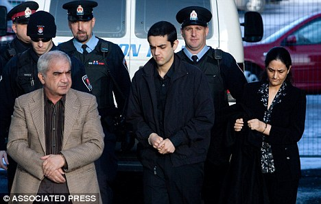 'Honour' killers: Mohammad Shafia, left, his wife Tooba Mohammad Yahya, right, and their son Hamed Shafia, 21, were convicted of four murders