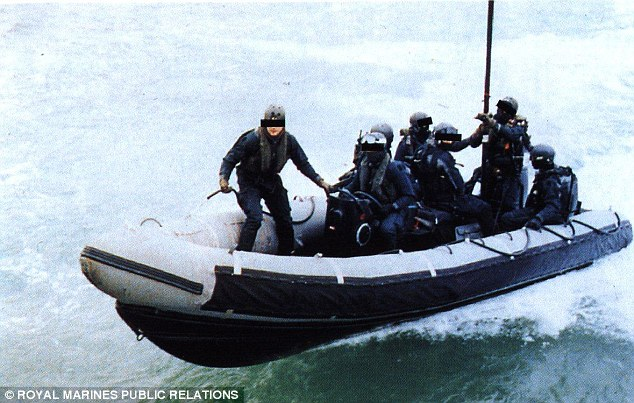 Members of the Special Boat Service, pictured here on a training exercise, were sent in to the kidnappers' hideout to try and rescue the two hostages