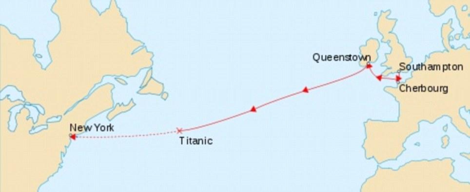 Percurso: O Titanic, que zarpou de Southampton, Inglaterra, afundou antes de alcançar seu destino final, de Nova York