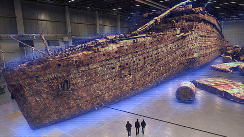 Uma imagem gerada por computador do naufrágio do Titanic