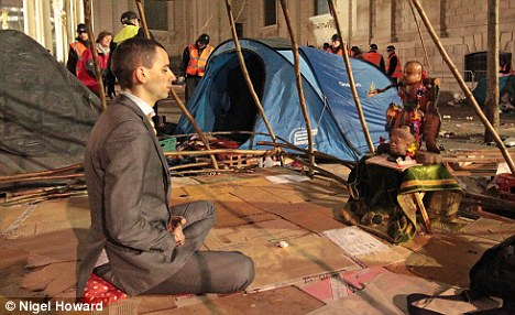 Free-thinking: A protestor at the Occupy site in front of St Paul's in London