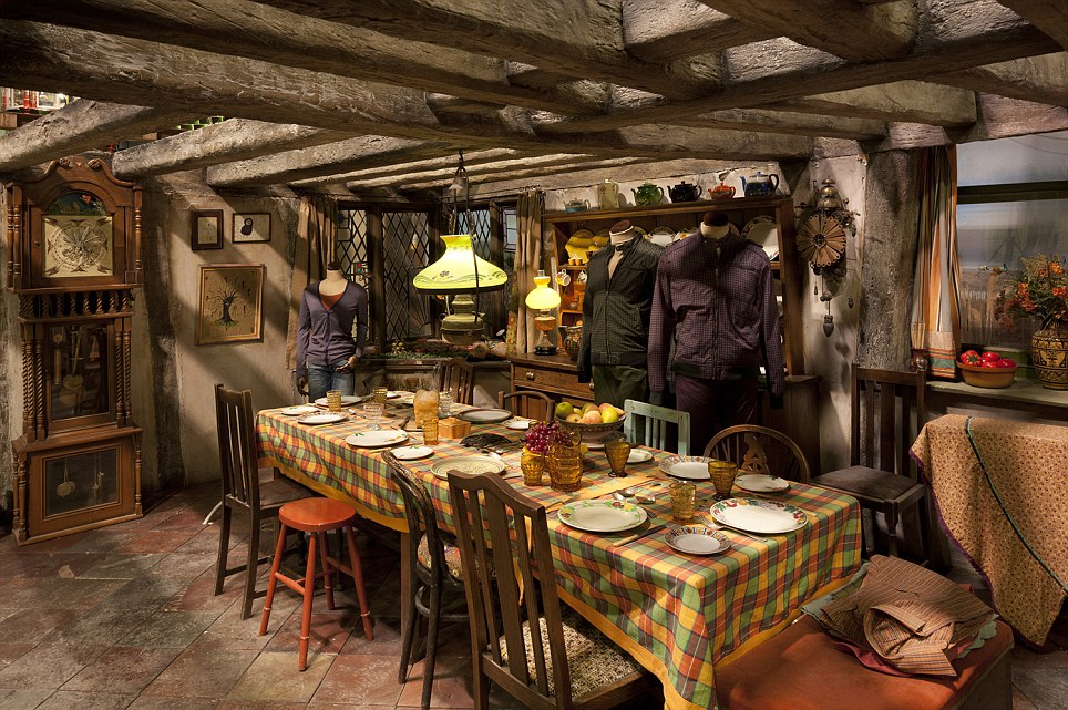 Film set: The Weasley family kitchen - set ready for dinner - with a bowl of fruit on the table. the studios open their doors on March 31 and tickets can be pre-booked