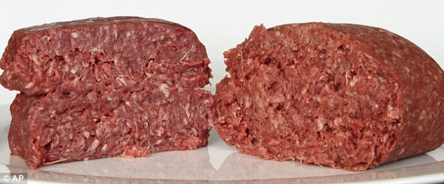 Test: A food journalist recently challenged in a taste test the ground beef containing what is referred to as 'pink slime,' right, against pure 85% lean ground beef, left